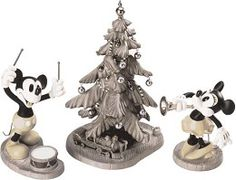 WDCC Disney Classics Mickey's Orphans Mickey, Minnie  & Christmas Tree Hooray For The Holidays #wdccDisneyClassics #Art.  Tails (on both Mickey & Minnie): Metal. Drum Sticks: Pewter.  Instruments and Ornaments: Silver metallic paint.  This three piece sculpture set is black and white, capturing the classic look and fun elegance of the original film which was never colorized. Ornaments come in a separate box so you can decorate the tree. Retired 02/95.