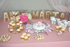 Dance all night long. A ballet dancer with a love for gold, pink and lots of fun. Dessert table. Name of party girl in gold.