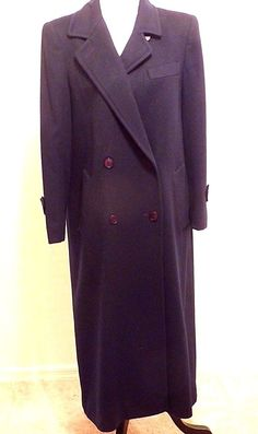 Vtg 80s EVAN PICCONE Navy Virgin Wool Full Length Winter Coat S 6 Double Breast #EvanPiccone #BasicCoat #Casual