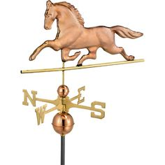 Artfully crafted from copper with a solid brass directional and polished finish, this horse-shaped weathervane lends folk-inspired style to your roof or gaze...