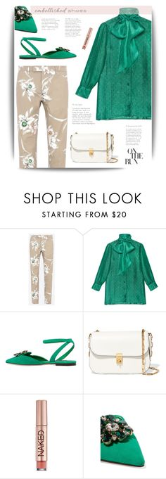 """""""Embellished Shoes: On the Run"""" by cara-mia-mon-cher ❤ liked on Polyvore featuring Valentino, Gucci, Dolce&Gabbana and Urban Decay"""