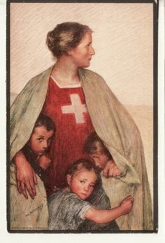 Artist Signed EUGENE BURNAND, Swiss artist RED CROSS / CHILDREN 1917 Fascinating: she looks like my grandmother who saved her three children during wwII