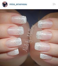 Perfect glitter fade nails Perfect glitter fade nails - - # You are in the right place about wedding nails for bride boho Here we offer you the most beautiful pictures Glitter Fade Nails, Faded Nails, Silver Nails, Nails With Glitter Tips, White Sparkle Nails, Silver Glitter Nails, Tips For Nails, Glitter Wedding Nails, Glitter Nail Designs