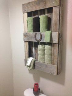 Pallet shelve for towel  Bathroom storage