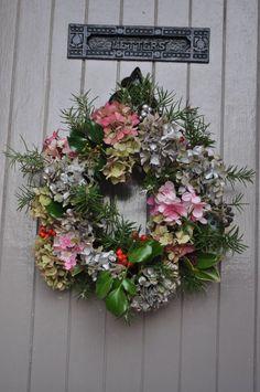 Elizabeth's home-made wreath on London Stone door. Beautiful.