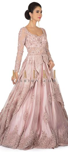 Pink ballroom gown with centre frills and embroidery only on Kalki Indian Wedding Gowns, Indian Gowns Dresses, Pink Gowns, Indian Bridal, Bridal Dresses, Indian Reception Outfit, Reception Gown, Gawn Dress, Engagement Gowns
