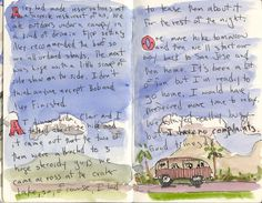 Bill Sharp's Costa Rica travel journal - I like the watercolor wash behind the journaling - follow the link to see more