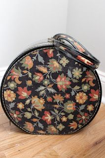 { Delightfully Dishy } Love the tapestry on this vintage hat box
