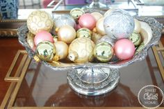 Fill a dish with Christmas balls for the easiest touch of Christmas you'll ever get!