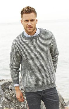 Mens' Textured Sweater knitting pattern in Stylecraft Life Aran , download on LoveKnitting