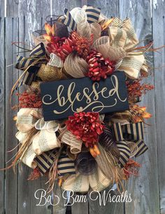 Fall Wreath Fall Swag Autumn Swag Autumn Wreath by BaBamWreaths Thanksgiving Wreaths, Autumn Wreaths, Thanksgiving Decorations, Holiday Wreaths, Wreath Fall, Rustic Thanksgiving, Fall Decorations, Fall Crafts, Holiday Crafts