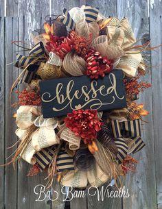Fall Wreath Fall Swag Autumn Swag Autumn Wreath by BaBamWreaths Thanksgiving Wreaths, Autumn Wreaths, Holiday Wreaths, Thanksgiving Decorations, Wreath Fall, Rustic Thanksgiving, Fall Decorations, Fall Swags, Diy Wreath