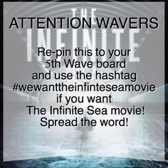 I want the infinite sea movie, but only if it doesn't. Suck as bad as the The Fifth Wave movie did. The 5th Wave Movie, The Fifth Wave Book, The 5th Wave Series, Any Book, Love Book, Wave Quotes, Random Things, Random Stuff, The Last Star