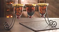 Amazon.com - 3 Piece Tortoise Glass Candle Holder W Wire Stand ...
