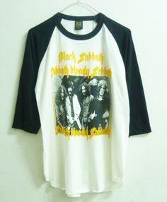 Raglan tshirt size M Black Sabbath tshirt singer band men women t shirts Off white shirt 3/4 sleeve shirt
