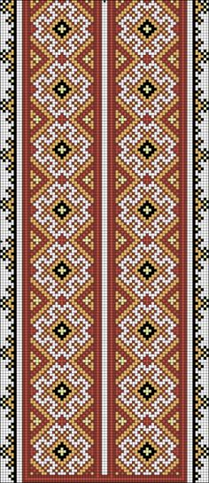 Beading _ Pattern - Motif / Earrings / Band ___ Square Sttich or Bead Loomwork ___ Gallery. Cross Stitch Borders, Cross Stitch Art, Cross Stitch Designs, Cross Stitching, Cross Stitch Embroidery, Cross Stitch Patterns, Border Embroidery Designs, Hand Embroidery Patterns, Knitting Patterns