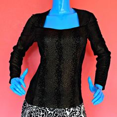Tribal Brand Black Gold Metallic Velvet Top 8 S M Long Sleeves Square Neckline #Tribal #KnitTop #Clubwear