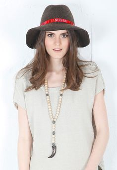 Lovely Bird Lazy Fedora in Brown with Red Trim