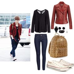 EXO Incheon Airport Lay inspired Outfit by smokingcrayonz on Polyvore featuring polyvore fashion style H&M Jigsaw Converse MCM John Lewis Topshop Uniqlo