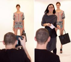 The Global Girl: Behind-the-scenes at Hever Leger by Max Azria Fall 2013 runway. Staff photographer and model busy at work preparing for a presentation of the BCBG Max Azria Spring 2013 collection at Saks Fifth Avenue.