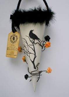 Halloween black bird cone