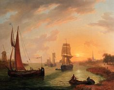 Frans Swager, An Estuary With Various Shipping at Sunset