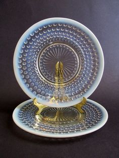"Moonstone Opalescent Hobnail Pair (2) 8.5"" Plates Depression Glass Anchor Hocking Class Co. $8.00"