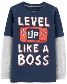 Carter's Little & Big Boys Layered-Look Long-Sleeve Cotton T-Shirt - Blue 7 Gamer T-shirt, Graphic Tees, Graphic Sweatshirt, T Shirt, Newborn Fashion, Boy Fashion, Carter Kids, Kids Tops, Novelty Shirts