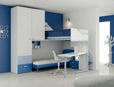 Moretti Compact - Composizione LH15 Start Solution | Collezione: Start Solution | Anno: 2013 | Materiali: Frassino e laccato | #design #blue #bedroom @Moretti Compact | http://camerette.webmobili.it/