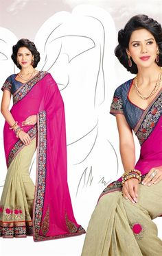 Butta Beige and Pink Saree with Blouse