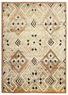 Carpet hand-knotted in Nepal | Wool, silk, & mohair on cotton foundation | The design of this rug is based on a textile by the Kuba people of the Congo.