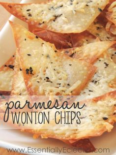 These Parmesan wonton chips are a great quick snack made with wonton wrappers, extra virgin olive oil, basil or rosemary, garlic, and parmesan cheese.