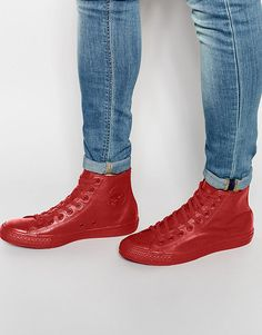 9971b3368f23 Image 1 of Converse Chuck Taylor All Star Mono Leather Hi-Top Plimsolls In  Red