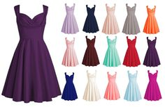 Women 1950s Vintage Retro Party Dress Short Bridesmaid Ball Gown Prom Dress