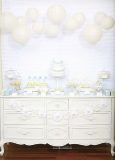 Pretty dessert table! Little Guy In A Tie Baby Blessing or Christening Party - Kara's Party Ideas - The Place for All Things Party