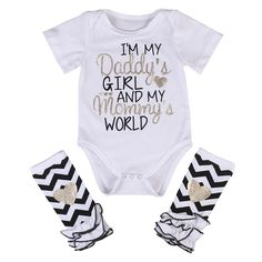 """""""I'm My Daddy's Girl and My Mommy's World"""" Little Girls Baby Bodysuit With Matching Leg Warmers Black White Glitter Heart #daddysgirl #mommysworld #photooftheday #thelittlegirlsstore #beautiful #babyfashion #fashion #follow #pinterest #summer #babyoutfit #little #girl #girls #clothes #cute #fun #pinme #pin #pinterestboard #sun #baby #babystyle #cool"""