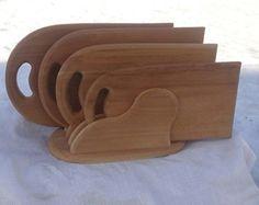 Three Cutting Board Set with Stand Modern Custom Oak Cutting