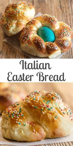 This Traditional Italian Easter Bread is a soft sweet brioche dough formed into wreaths or braided. Coloured eggs are baked into the bread and the bread is sprinkled with lots of sprinkles. bread Traditional Italian Easter Bread - An Italian in my Kitchen Easter Bread Recipe, Easter Recipes, Holiday Recipes, Easter Baking Ideas, Easter Meal Ideas, Cake Recipes, Dessert Recipes, Lasagna Recipes, Rib Recipes