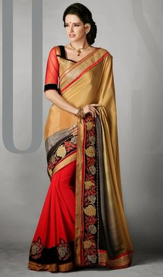 Stand unique in the crowd dressed in this cream, gray and red satin silk half n half saree. This charming attire is showing some wonderful embroidery done with lace, moti, resham, stones and velvet patch work. #StunningEveningSareeCollection