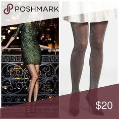 ✨HP✨Full Length Gold Embellished Black Tights✨ ✨•Work Week Chic Host Pick 1-23-17✨New in original packaging  Black tights with shimmery gold embellishment • Full length tights ✨ Express Accessories