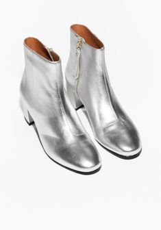 & Other Stories   Silver Ankle Boots