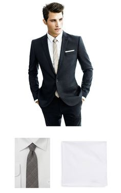 Give yourself an extra edge with these fashion savvy accessories - a textured skinny tie in espresso brown and a classic white pocket square.