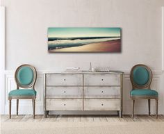 Panoramic Canvas Art Ocean Beach Photography Teal Wall Art Sand Brown Panoramic Seascape Extra Large Oversized 20x60 Canvas Gallery Wrap by AmyTylerPhotography on Etsy https://www.etsy.com/listing/231491500/panoramic-canvas-art-ocean-beach