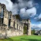 Ruins of St Marys Abby in Museum gardens in the City of York, Yorkshire, England.