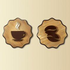 Quadro Café Tradicional I ? Dupla 30x30 - 2 quadros decorativos para harmonizar as paredes da sua sala, cozinha ou escritório, feitos à mão. - Com desenho criativo de xícara e grão de café esculpido em relevo no mdf, pintura acrílica e esmalte. - Medidas de cada quadro: A 30 cm x C 30 cm x ... Wooden Diy, Wooden Boxes, Wood Projects, Woodworking Projects, Cnc Woodworking, Coffee Bar Home, Coffee Carts, Coffee Logo, Cafe Bistro