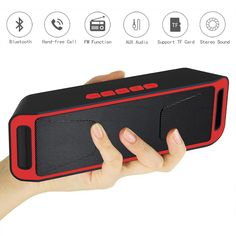 SC208 Bluetooth 4.0 Portable Wireless Dual Speakers Supports TF card USB FM Radio Stereo Speaker With Mic Bass Sound Subwoofer