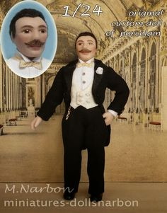 """Original porcelain doll, scale 1/24 """"Anton with tailcoat"""" custom made by Maria Narbon https://www.etsy.com/es/shop/marianarbon?section_id=11375810&ref=shopsection_leftnav_1"""