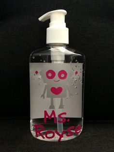 Personalized hand sanitizer for Julian's robot-themed classroom. Robot Classroom, Classroom Themes, Robot Theme, School Themes, Pta, Hand Sanitizer, Second Grade, Soap Dispenser, Robots