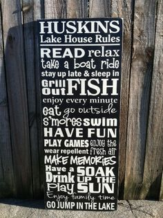 "Personalized Lake House Rules Subway Sign - 11""x24"" - Hand Painted and Distressed. $65.00, via Etsy.hmm.  .. I was going to make my own ..but?"