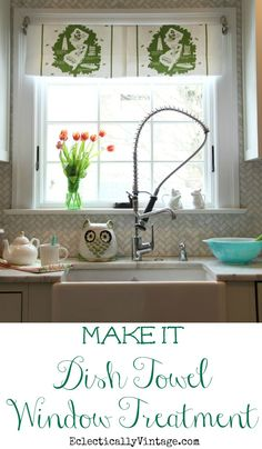 Make this fun DIY Dish Towel Window Treatment - best part, no commitment when you want to remove it! eclecticallyvintage.com